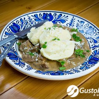 Recycled leftover brisket with cream gravy and semolina dumplings. Video included.