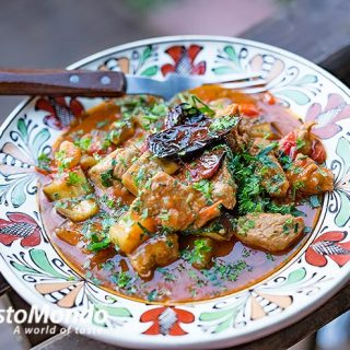 Aubergine and pork stew. A simple tasty recipe, video recipe included.