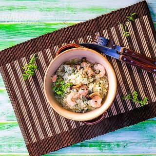 Green rice and prawns pilau recipe. Healthy, quick, tasty. Video recipe included.
