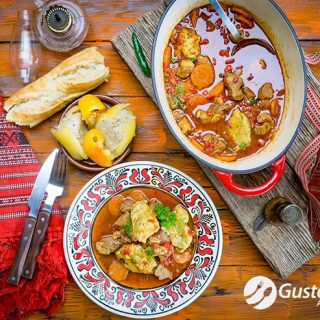 Easy pork goulash recipe with special dumplings. Video included.